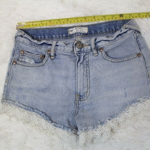 free people Distressed Denim Jean Shorts sz 25